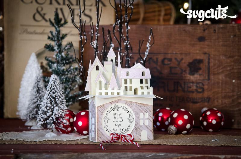 Christmas Box Card Village SVGCuts