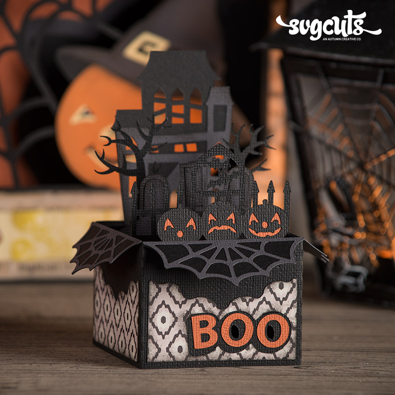 Fright Night Haunted House Box Card SVGCuts