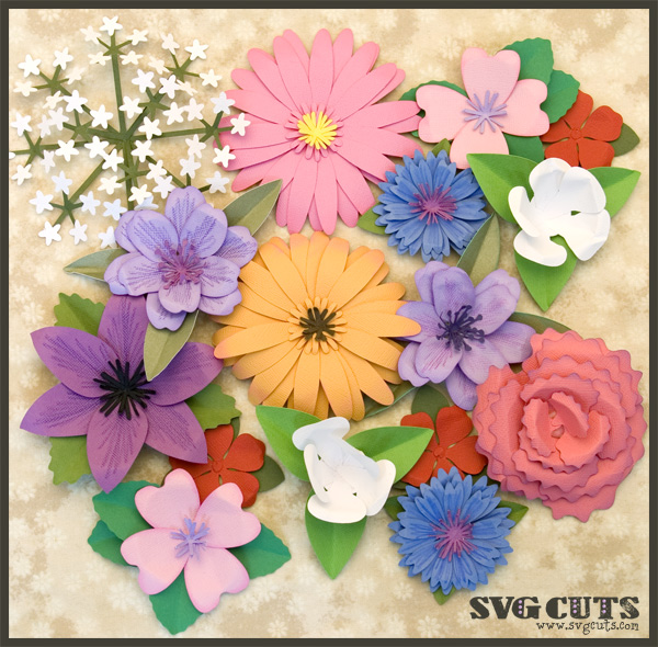 3D Flowers Part II SVGCuts