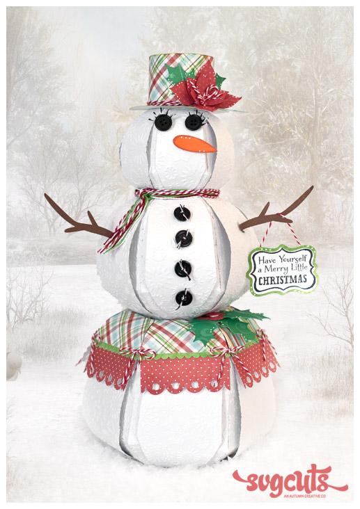 3d Paper Snowman Svg 01