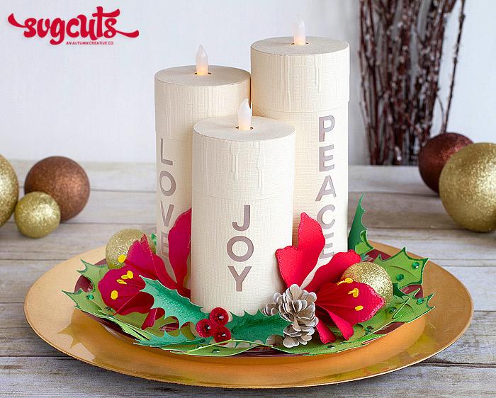 Christmas Candle Centerpiece by Ilda Dias | SVGCuts.com Blog