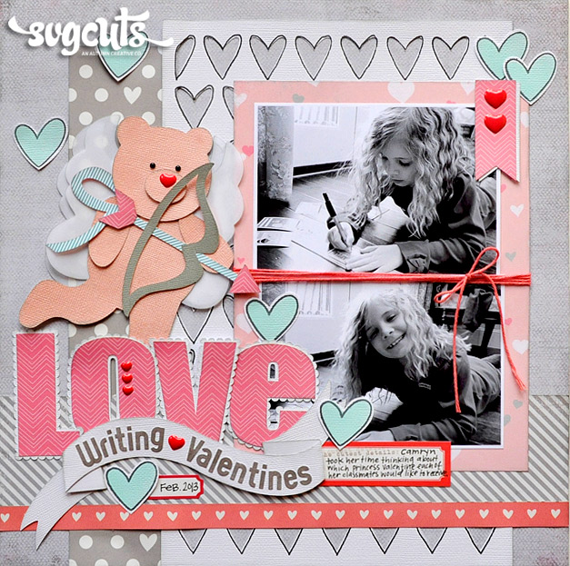 Valentine Love Scrapbook Layout Die Cut Svg on story map freebie