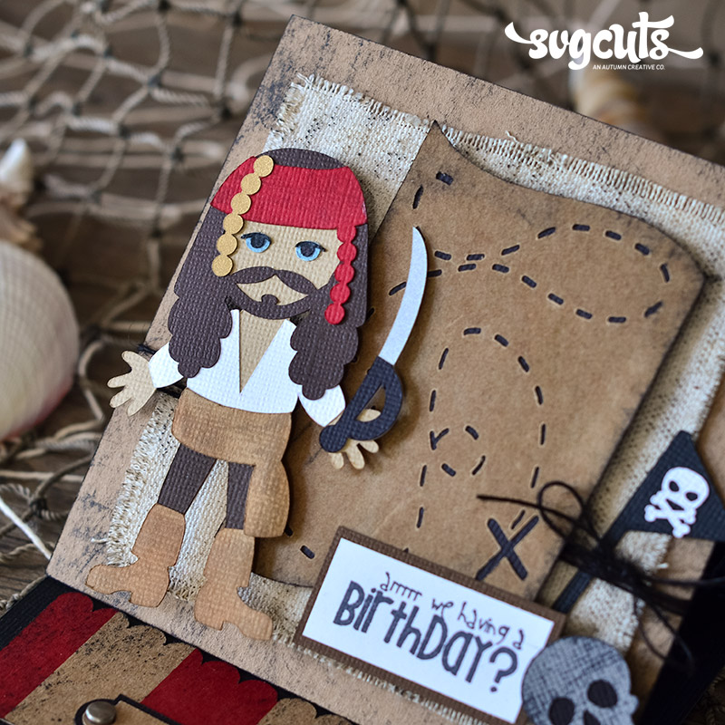 Pirate Easel Birthday Card and Ship Cupcake Stand by Thienly Azim – Pirate Birthday Card