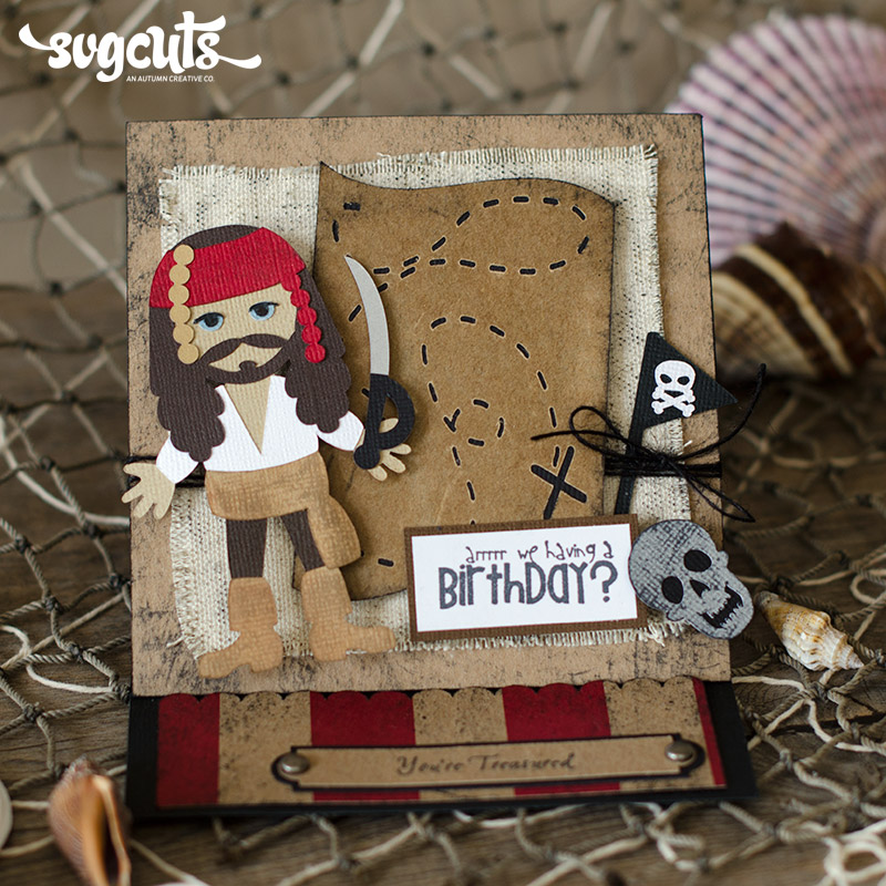 Pirate Easel Birthday Card And Ship Cupcake Stand By Thienly Azim