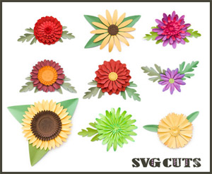 3D Mums and Fall Flowers SVG Kit