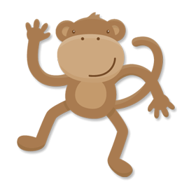 Have a fun kids' project coming up?  Create super fun birthday cards or invitations with Steve the Monkey!  You can add a little party hat, a bow tie, or even a pink hair bow to make a funny girl monkey.  Use him on scrapbook page layouts of kids playing and acting like goofy monkeys.  Happy crafting!