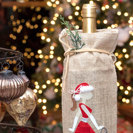 Santa Baby Burlap Wine Holder by Kathy Helton