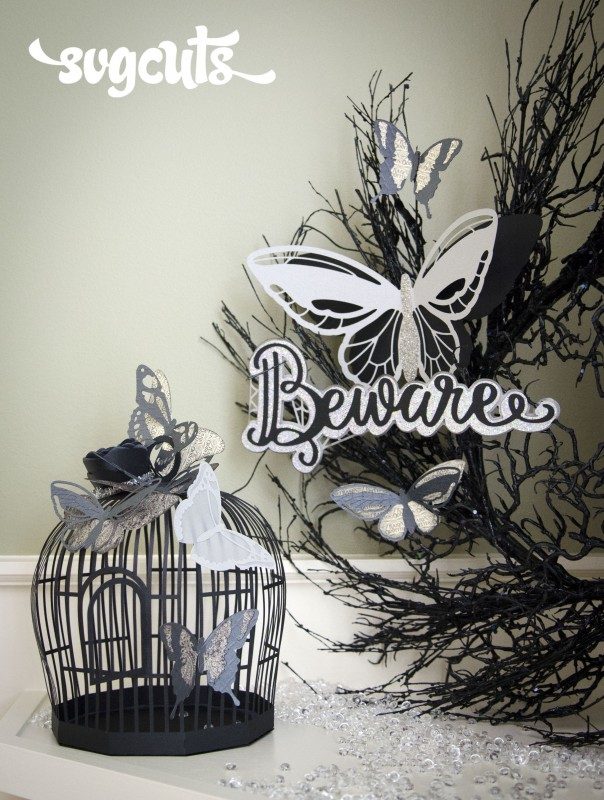The Beware Caption is featured here on a wreath from Michaels Craft Stores with Butterflies from our Boho Butterflies SVG Kit. The Bird Cage is from our Playful Parlour SVG Kit.