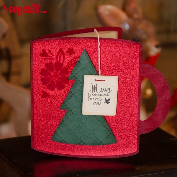 SVG Cuts FREE file - Christmas Mug Card With Envelope