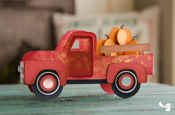 SVG Cuts FREE file - Pumpkin Truck Box Card