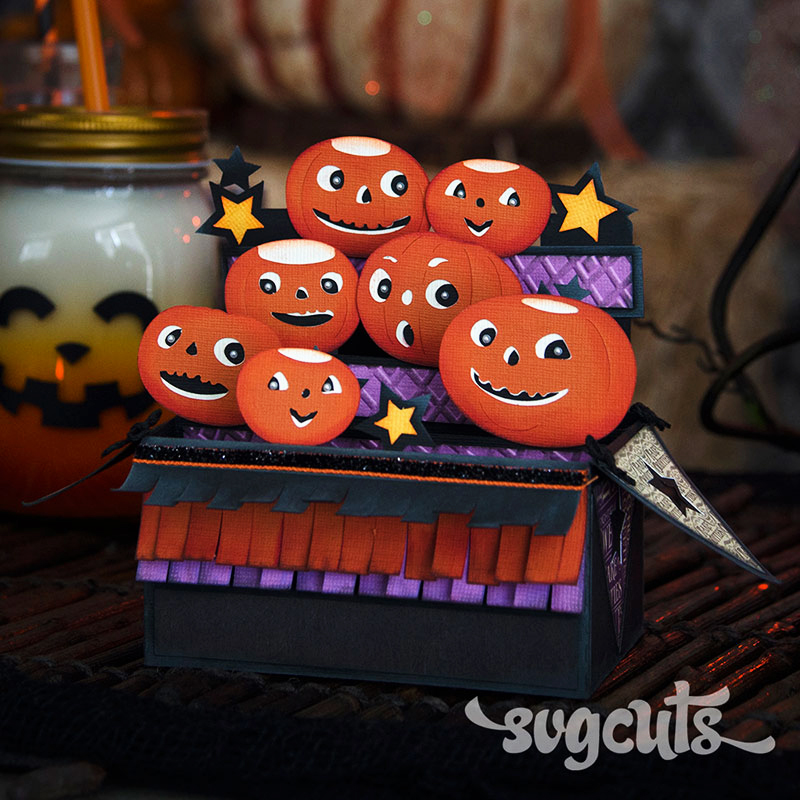 Barn Party Pumpkins Box Card SVGCuts