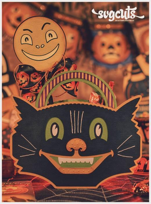 SVGCuts Black Cat Bucket