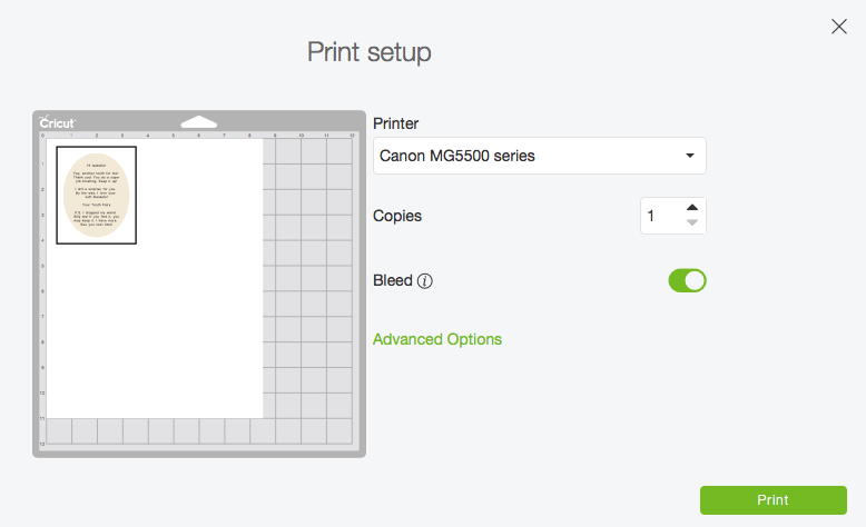 print dialog box cricut design space